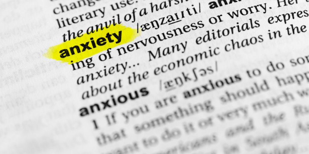 Highlighted english word anxiety and its definition.