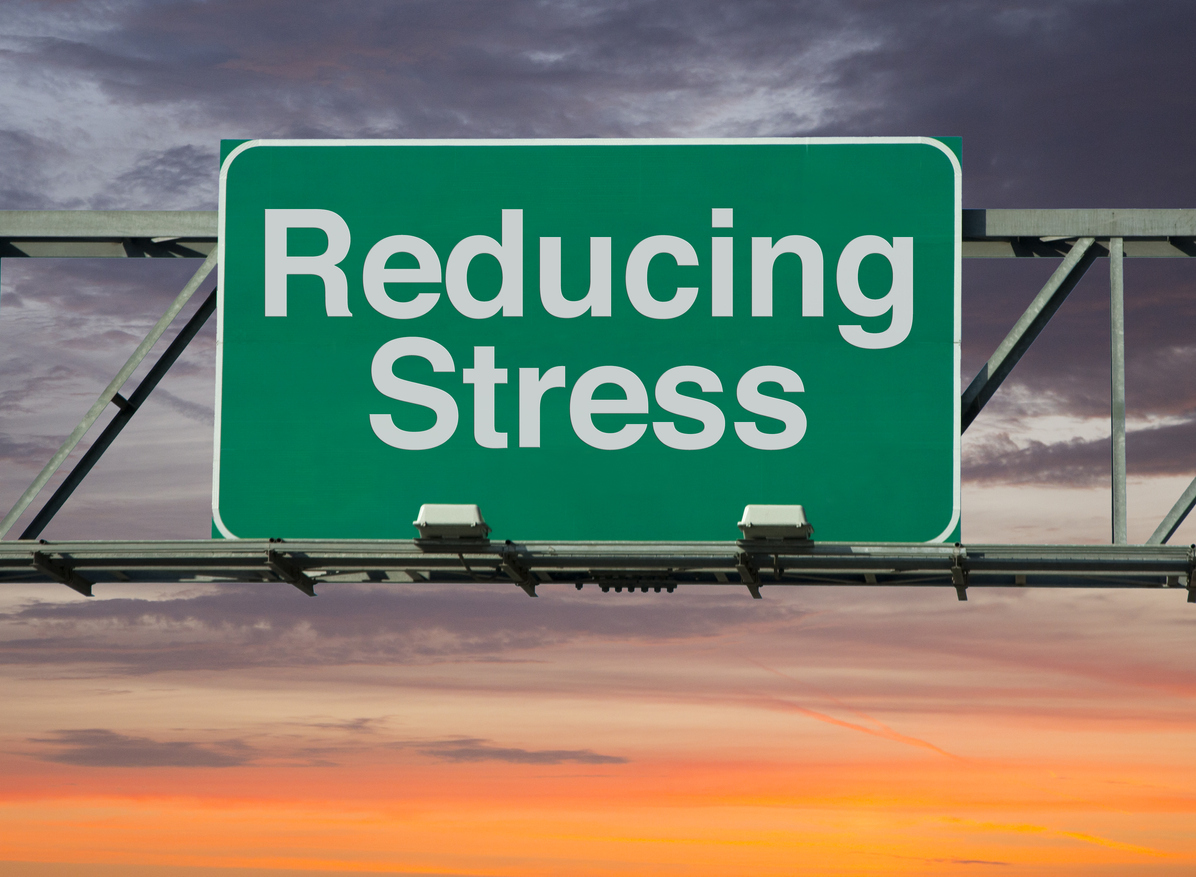 "A road sign concept that says ""Reducing Stress""."